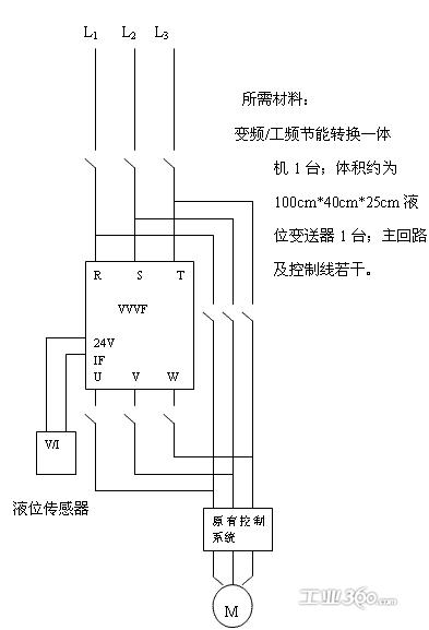 说明,改造方案须用工频,变频双回路控制,变频改造并不改变水泵原有的