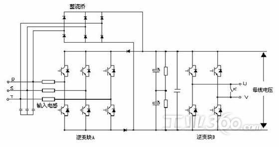 逆变电路,通过整流桥进行三相全桥方式整流,整流后的给滤波电容充电