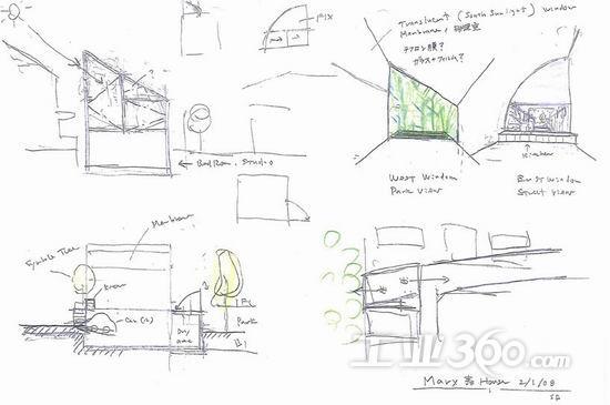 夜景 屋顶结构草图