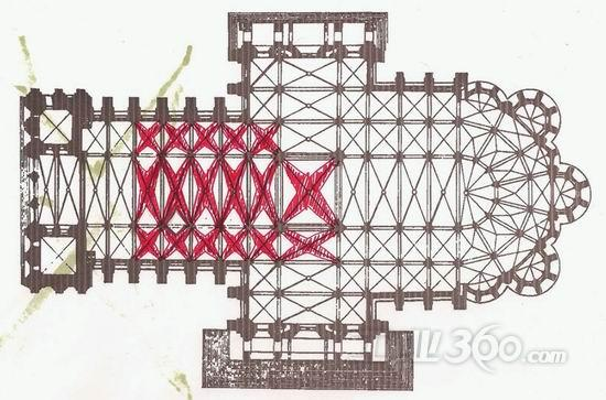 立面概念提取自传统教堂平面图